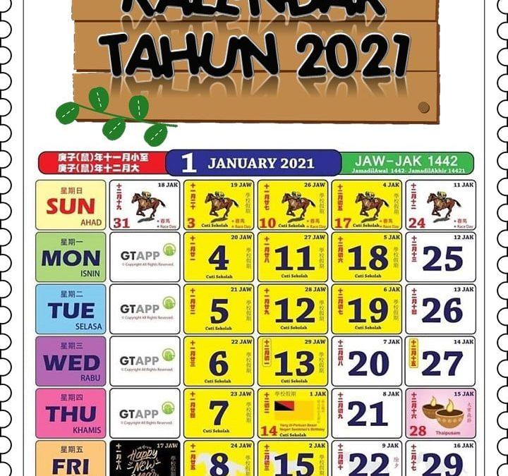 Kalendar Comel 2021 dengan Quote