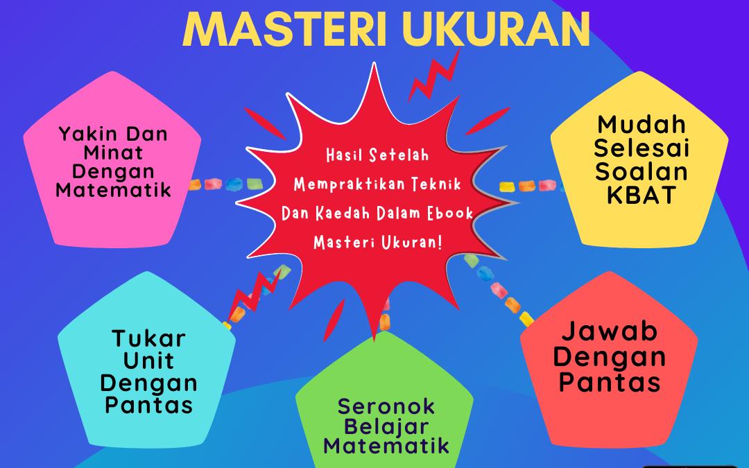Masteri Ukuran merupakan satu modul (Ebook) yang dapat membantu murid-murid untuk mengukuhkan penguasaan mereka terhadap tajuk ukuran, iaitu panjang, jisim dan isipadu cecair.