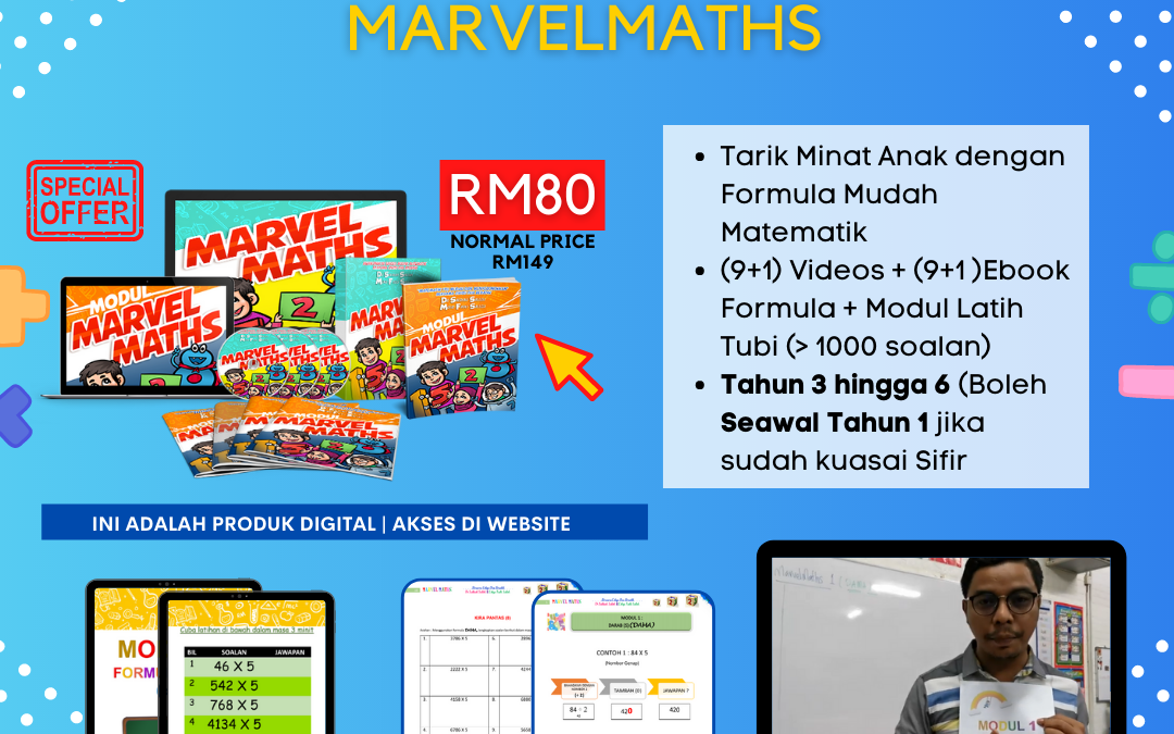 Marvel Maths ini adalah satu usaha gabungan Cikgu Mohd Fadli Salleh dan Dr Salbiah Salleh untuk membantu anak anda minat dengan subjek matematik.